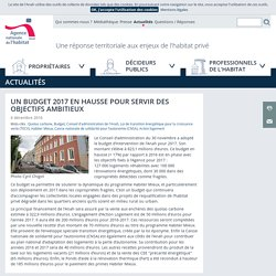 ANAH: Un budget 2017 en hausse pour servir des objectifs ambitieux - 06/12/16