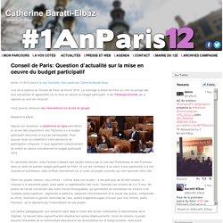 Conseil de Paris: Question d'actualité sur la mise en oeuvre du budget participatif