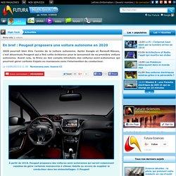 En bref : Peugeot proposera une voiture autonome en 2020
