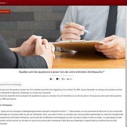Actualité - Quelles sont les questions à poser lors de votre entretien d'embauche ?