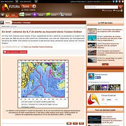 En bref : séisme de 8,7 et alerte au tsunami dans l'océan Indien