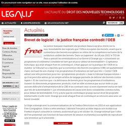 Brevet de logiciel : la justice française contredit l'OEB