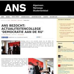 ANS bezocht: Actualiteitencollege 'Democratie aan de RU'