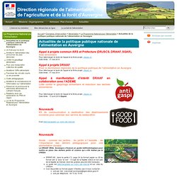 Actualités de la politique publique nationale de l'alimentation en Auvergne - DRAAF Auvergne