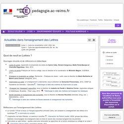 Se former Lettres lycée - Actualités dans l'enseignement des Lettres