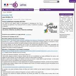 Actualités TICE — Site Lettres de l'académie de Lille