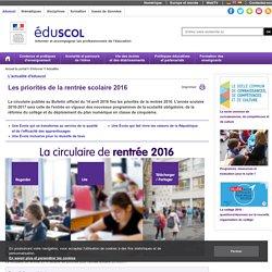 Actualités - Les priorités de la rentrée scolaire 2016