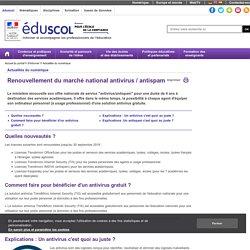 Enseigner avec le numérique - Renouvellement du marché national antivirus / antispam