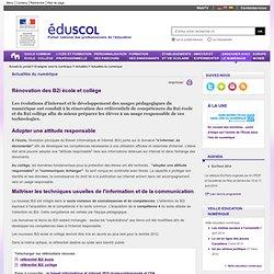 Actualités du numérique - Rénovation des B2i école et collège