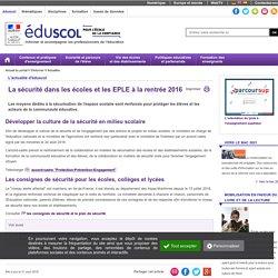 Actualités - La sécurité dans les écoles et EPLE