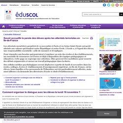 Actualités - Savoir accueillir la parole des élèves après les attentats terroristes en Ile-de-France