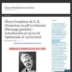 19 Obras completas de G. K. Chesterton en pdf (Descarga gratuita)