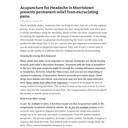 Acupuncture for Headache in Morristown presents permanent relief from excruciating pains