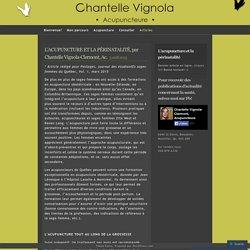 L'ACUPUNCTURE ET LA PÉRINATALITÉ, par Chantelle Vignola-Clermont, Ac.