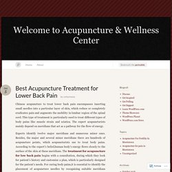 Best Acupuncture Treatment for Lower Back Pain « Welcome to Acupuncture & Wellness Center