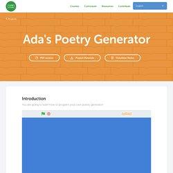 Ada's Poetry Generator – Code Club