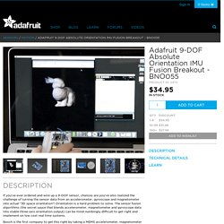 Adafruit 9-DOF Absolute Orientation IMU Fusion Breakout - BNO055 ID: 2472 - $34.95