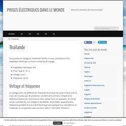 Thaïlande: Besoin d'un adaptateur électrique de voyage? - PRISES ÉLECTRIQUES DANS LE MONDE