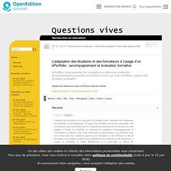 L'adaptation des étudiants et des formateurs à l'usage d'un ePortfolio: accompagnement et évaluation formative