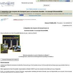 L'adaptation des moyens de transport pour un tourisme durable : le concept d'ecomobilite - Clément PAMELARD