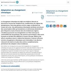 Adaptation au changement climatique — Agence européenne pour l'environnement