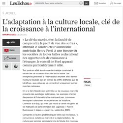 L'adaptation à la culture locale, clé de la croissance à l'international