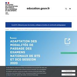 Adaptation des modalités de passage des examens nationaux de BTS et DCG session 2020