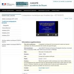 L'adaptation numérique aux troubles dys - 07/10/2015