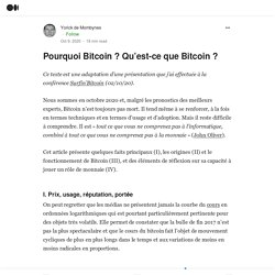 Adaptation d'une présentation effectuée à la conférence Surfin'Bitcoin (02/10/20)