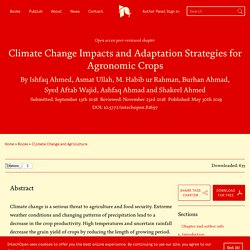 INTECH 30/05/19 Climate Change Impacts and Adaptation Strategies for Agronomic Crops