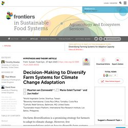 FRONT. SUSTAIN. FOOD SYST 07/04/20 Decision-Making to Diversify Farm Systems for Climate Change Adaptation