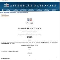N°2119 - Avis de Mme Fanny Dombre Coste sur le projet de loi relatif à l'adaptation de la société au vieillissement (n°1994)