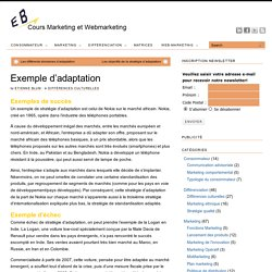 Exemple d'adaptation - Cours marketing, eMarketing et Webmarketing