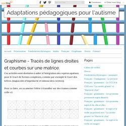 Graphisme - Tracés de lignes droites et courbes sur une matrice. - Adaptations pédagogiques pour l'autisme