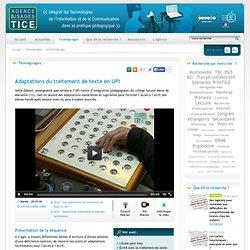 L'Agence nationale des Usages des TICE - Adaptations du traitement de texte en UPI