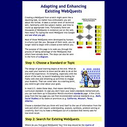 Adapting and Enhancing Existing WebQuests