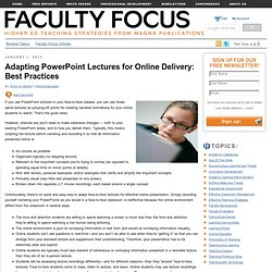 Adapting PowerPoint Lectures for Online Delivery: Best Practices