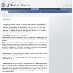 ADDENDA : Dictionnaire de l'Académie française