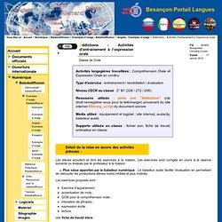 Besançon Portail Langues - Addictions - Activités d'entrainement à l'expression orale