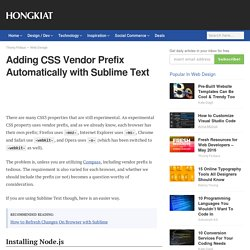 Adding CSS Vendor Prefix Automatically with Sublime Text