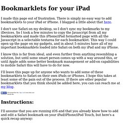 Adding Bookmarklets on iPad and iPhone