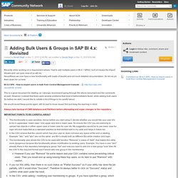 Adding Bulk Users & Groups in SAP BI 4.x: R...