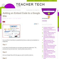 Adding an Embed Code to a Google Site