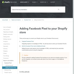 Adding Facebook Pixel - Facebook Pixel - Shopify Help Center