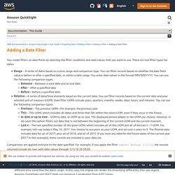 Adding a Date Filter - Amazon QuickSight