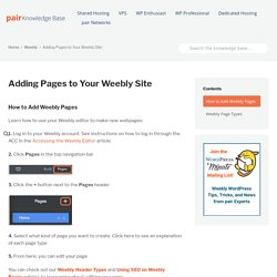 Adding Pages to Your Weebly Site