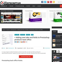 Adding new tabs and fields to Prestashop products' back office - NemoPS
