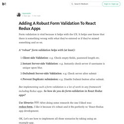 Adding A Robust Form Validation To React Redux Apps