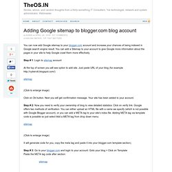 Adding Google sitemap to blogger.com blog account