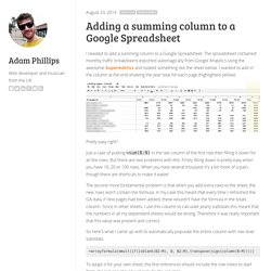 Adding a summing column to a Google Spreadsheet